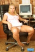 Hot tits blonde in pink top and white skirt sits on chair and flaunts
