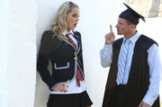smoking blonde schoolgirl gets