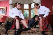 wavy-haired brunette black stockings