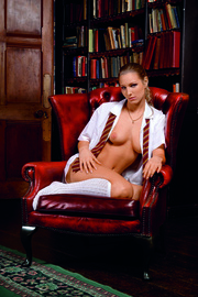 blonde schoolgirl with white