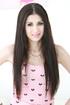 stunning brunette wearing pink