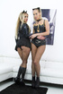 Skilled two blondes in black skirts and mesh tights with cat ears doing