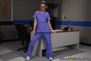 cute brunette nurse with