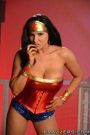 hot brunette superhero fucks