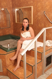 brunette shemale wrapped towel
