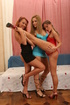 Three European babes in high heels fucked together