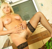 Blonde hottie teases with her foxy body with juicy boobs and hairy pussy