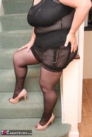 chubby granny black fishnet
