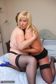 blonde cougar black lingerie