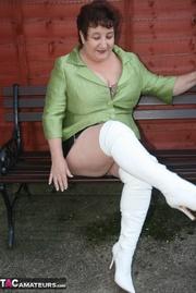 naughty granny sits brown