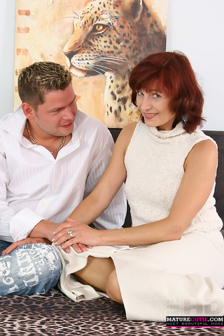 redhead granny white outfit