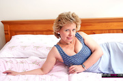 blonde granny blue outfit
