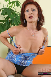 redhead granny with blue