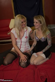 luscious nurse with steaming