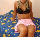 Blue eyed blonde in pink miniskirt and black undies got nude and exposing