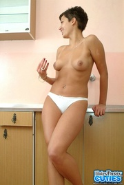 short haired white panty