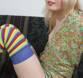 Pierced tongue blonde in striped socks took off green dress and exposing