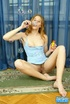 Busty redhead in blue peignoir and panty exposing her hairy vagina and