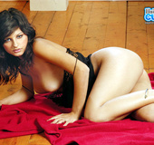 Hairy pussy brunette in sexy black lingerie seductively posing on a cam