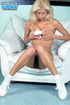 Hairy pussy blonde with big melons wiggles out of white miniskirt and