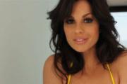 gorgeous brunette babe yellow