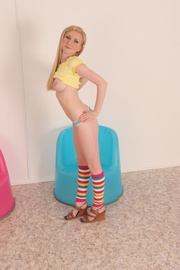 colorfully dressed blonde teen