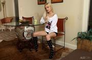 blonde beauty black socks
