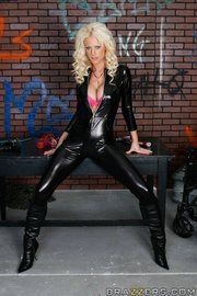 submissive blonde black boots
