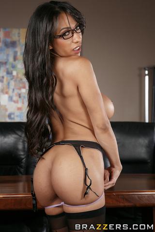 long-haired looker black stockings