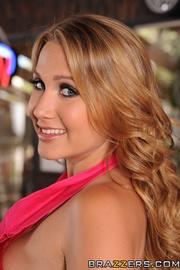 busty blonde waitress pink