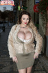 Adorable big boobs brunette in fur coat and sexy grey outfit masturbates