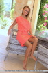Brown eyed blonde in pink dress and tight thongs slowly getting nude just