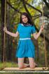 brunette teen blue dress