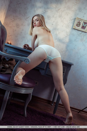 grey eyed blonde with