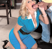 Hot naughty busty blonde milf in blue outfit blows and screws young stud