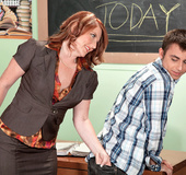 Sexy redhead milf teacher seduces young student then sucks and screws