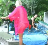 Curvy blonde housewife in red bikini sucks cock, gets licked and fucked