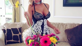 busty maid arranging flowers