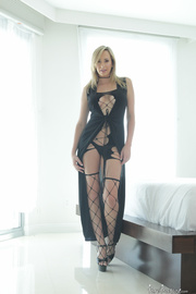 wearing sexy black dress