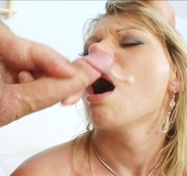 Young cock spews all over this skinny blonde milf after fucking