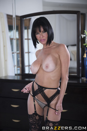 milf black lingerie seduces