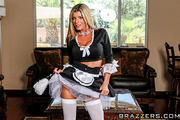 blonde maid cleans her