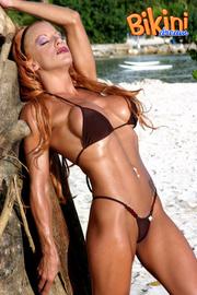 stunning blonde black bikini