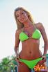 Smoking hot blonde teases with her stunning body wearing her green bikini