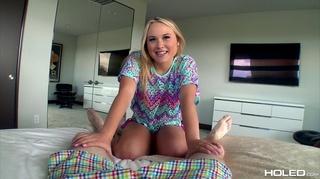 beautiful blonde takes anal