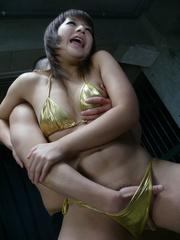 dazzling brunette wearing golden