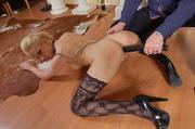 blonde wearing sexy stockings