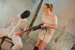 Ponytailed brown-haired mistress in boot - XXX Dessert - Picture 3