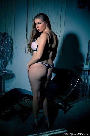 Pinkish panties BBW shows off her hairy  - XXX Dessert - Picture 1