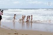 indulging babes take swim